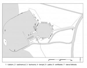 Plaan Portuse sadamast keiser Traianuse ajal. Alusplaan: Penny Copeland.