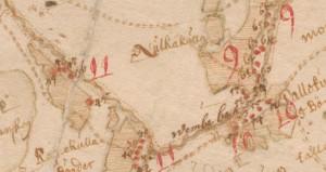 """1686. aasta kaart """"Rappins gebiet medh underliggande adelige godsen"""" (EAA.308.2.104). Kaardil on näha Nulga küla piirikivi  lähedalt mööduv Punni-Nulga tee."""