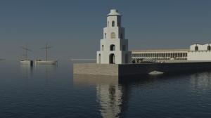 Portuse sadamas oli kaks tuletorni. Arvutirekonstruktsioon kujutab neist väiksemat, mis valgustas teed sisemisse sadamabasseini. Autor Gareth Beale.